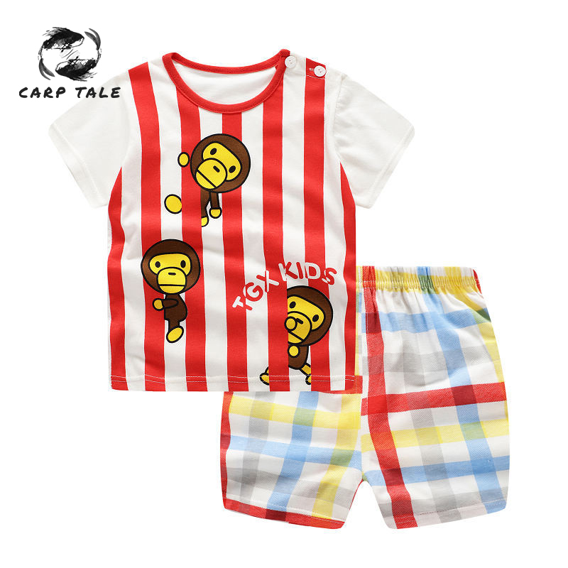 Brand New Summer Baby Costume Fashion Cartoon Print Boys & Girls Clothes Sets Cotton 0-2Y Clothing for