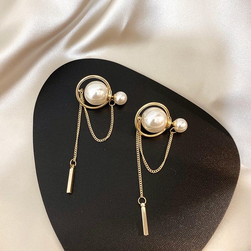 Trendy Metal Chain Long Tassel Earrings Fashion Retro Simulated Pearl Texture Earrings Wholesale Dangle Earrings Pendant Brincos