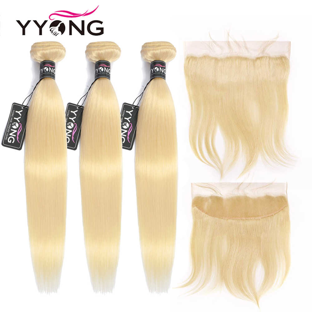 Yyong 613 Bundles With Frontal Brazilian Straight Human Hair Blonde Bundles With Closure Remy Lace Frontal With Bundles 4Pcs/Lot