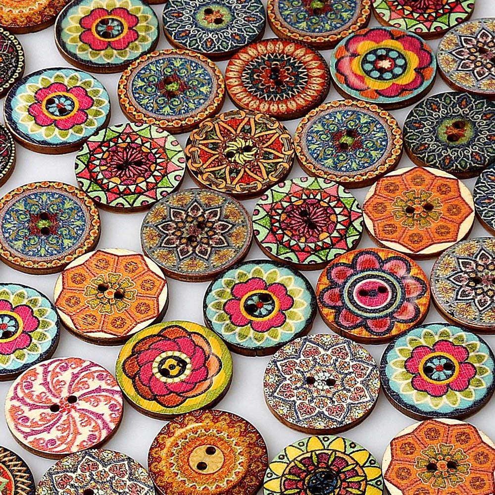 50 Stuks Vintage Houten Knoppen 2 Gaten 15/20/25 Mm Gemengde Knoppen Voor Kleding Diy Knoppen Decoratieve kleding Ambacht Naaien Gereedschap