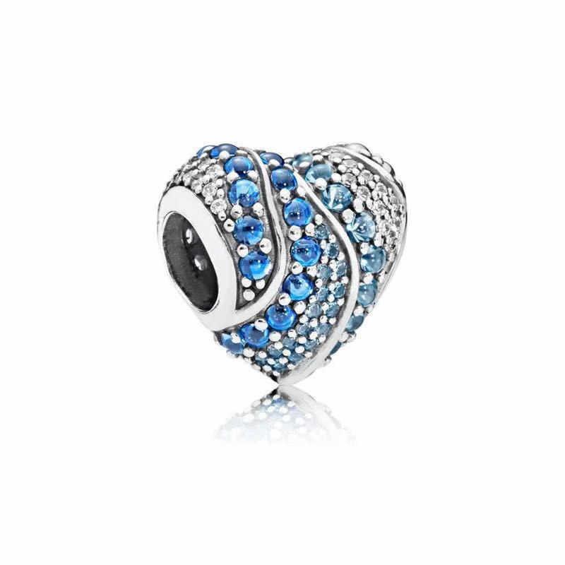 מכירה לוהטת אותנטי 925 כסף סטרלינג 14 סגנון כחול אוקיינוס לב חרוזים Fit מקורי פנדורה צמיד DIY תכשיטי Dropshipping
