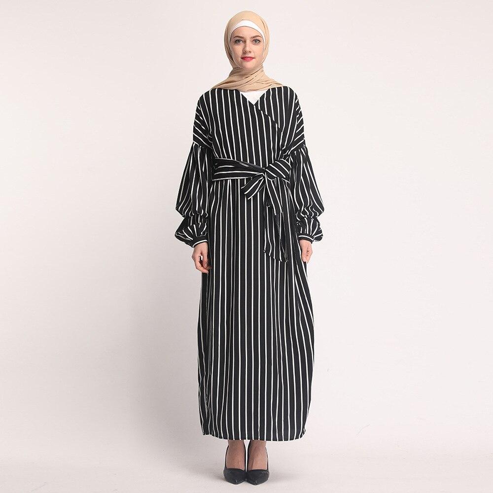 Women Hijab Dress Muslim Puff Sleeve Lace-up Striped Maxi Dresses Islamic Clothing Elbise Moroccan Kaftan Dubai Arab Long Robe