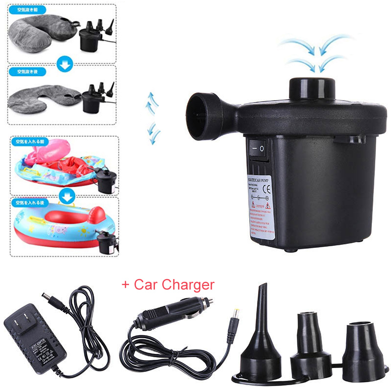Portable Electric Air Pump W/ Car Charger Inflatable Balloon Pump Inflator For Mattress Boat Swimming Pool Accessories