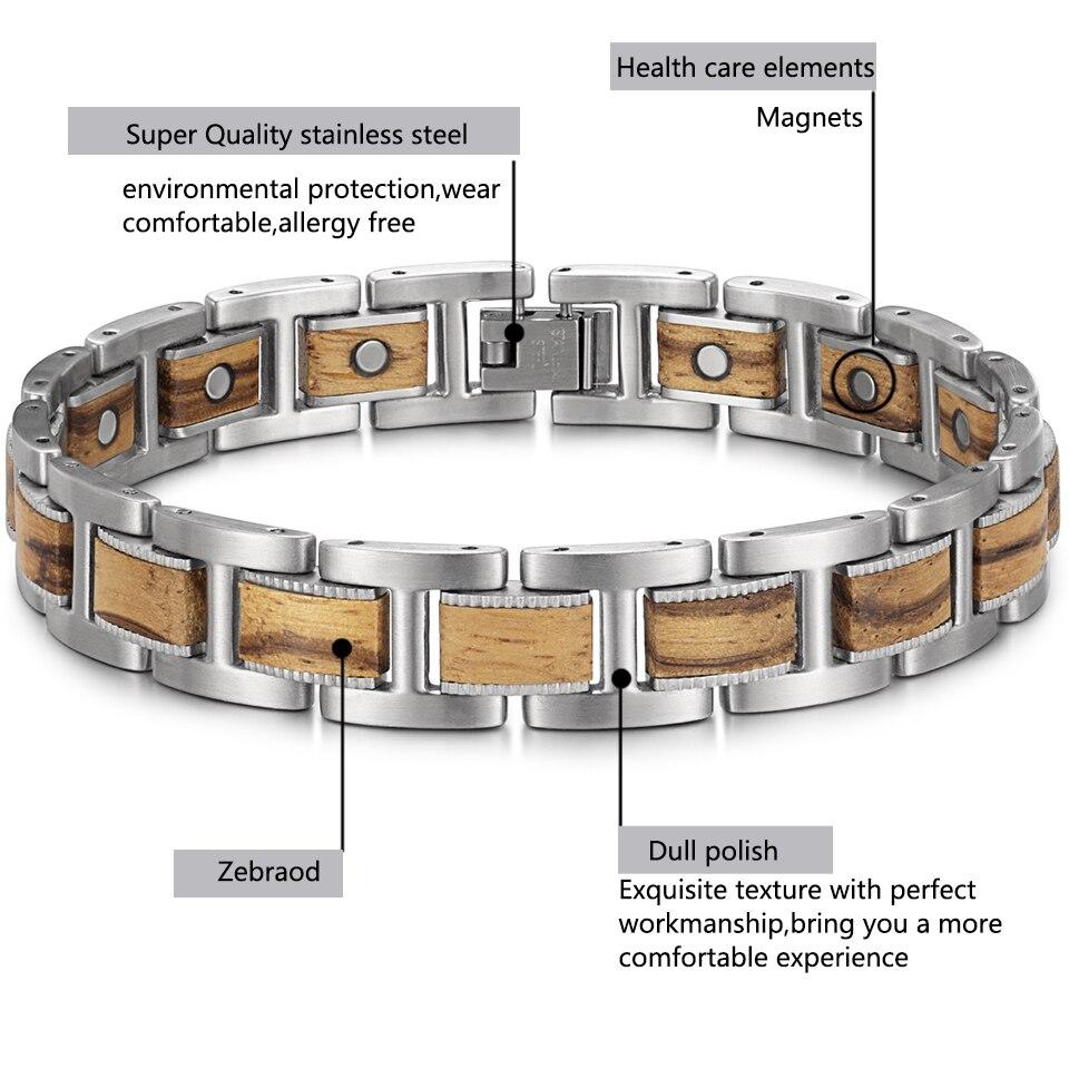 H4fcd4261c4c94f47afff9787bd95312ak - Men's Wrist Bracelet Zebrawood Magnetic Health Care