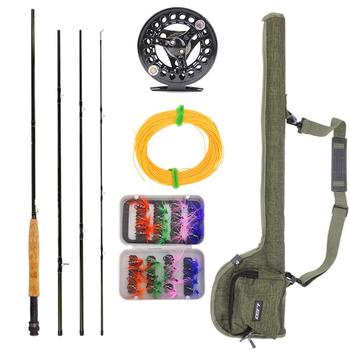 Multifunctional  Fly Fishing Rod Reel Combo Set 2.7m Fly Rods with Carry Bag Fishing Lures Bag Rod  Outdoor Fishing Tools Suit goture fly fishing reel rod combo 5 6 7 8 acl fly reel and bluewater fly rod with flies lures fishing kit pesca