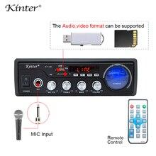 Kinter M1 amplificador de Audio 2.0CH con USB SD FM MIC 3,5mm entrada puede reproducir MP3 MP4 MP5 fuente de alimentación 220 240V carcasa de metal