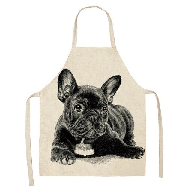 Waterproof Bulldog Printing Cotton Linen Apron Kitchen Restaurant Cooking Aprons