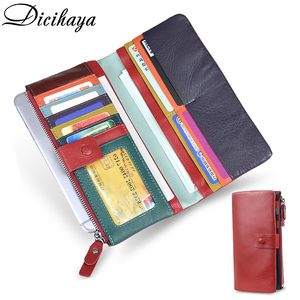 Image 1 - DICIHAYA Soft Genuine Leather Wallet Womens Coin Purse Phone Bag Multi card Bit Card Holder COW Purse Contrast Color Billetera