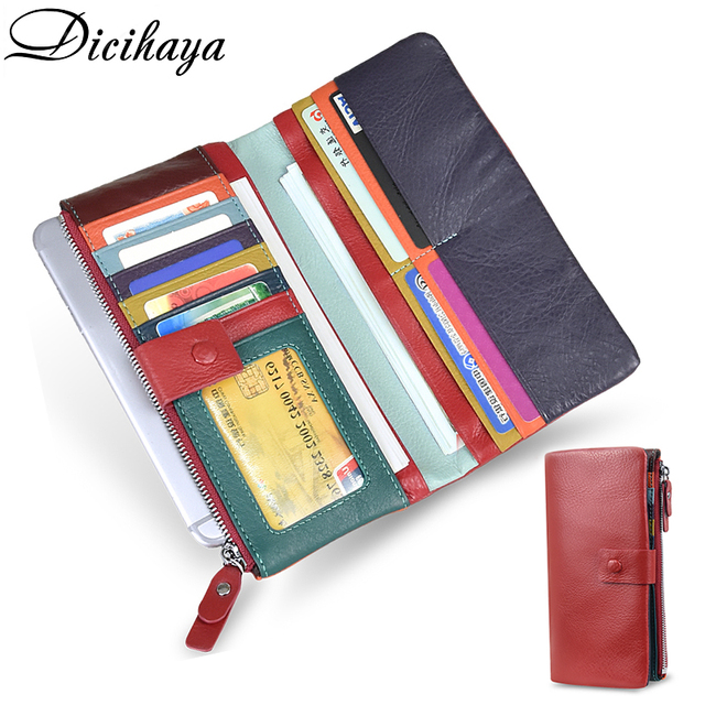 DICIHAYA Soft Genuine Leather Wallet Womens Coin Purse Phone Bag Multi card Bit Card Holder COW Purse Contrast Color Billetera