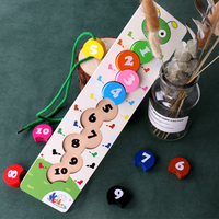 New Wooden Learning Baby Toy Colorful Number Stringing Threading Digital Beads Math Montessori Educational Toy