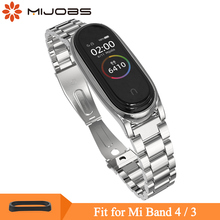 Mijobs Metal Strap Bracelet for Xiaomi Mi Band 4/3 band 4 Stainless Steel Wristbands Pulseira Miband 3