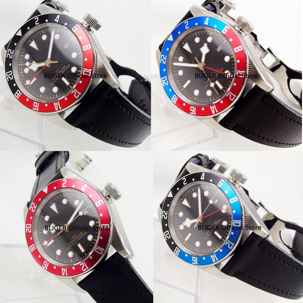 Nologo 41mm Rose Gold Marks Automatic Men Watch GMT Hand Sapphire Glass Rotating Bezel Leather Strap