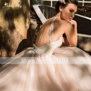Image 4 - Adoly Mey Romantic Halter Neck Backless line suknia ślubna 2020 luksusowe zroszony Sashes aplikacje sąd pociąg suknia ślubna w stylu vintage
