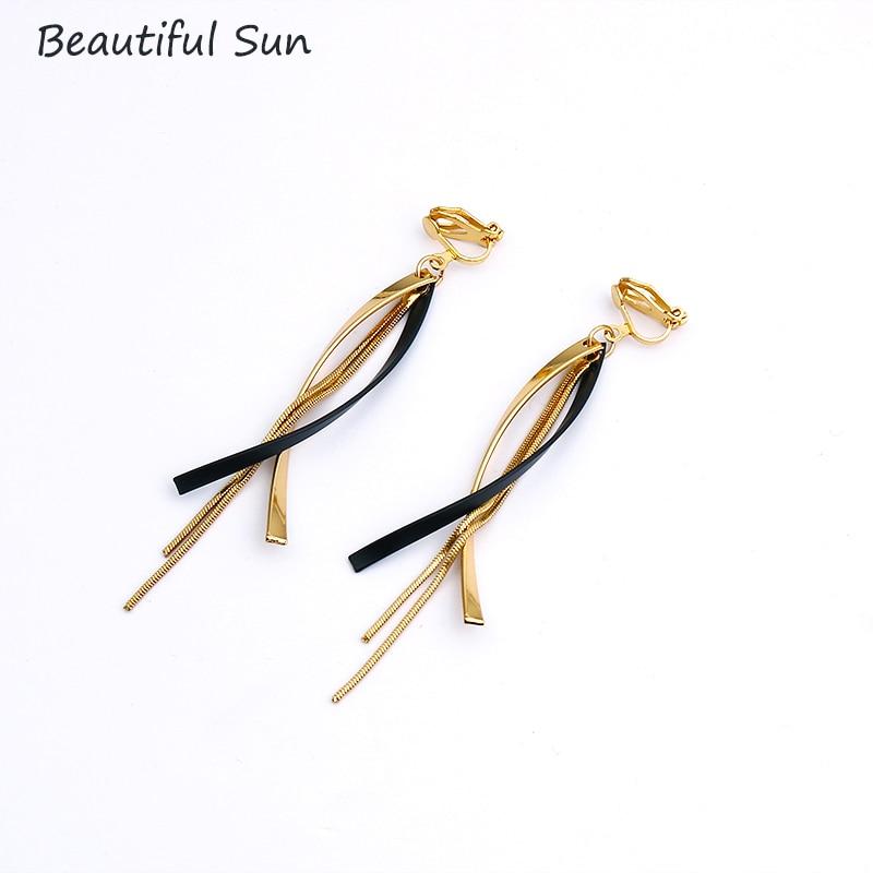 Korean Creative Long Statement Clip On Earrings Geometric Irregular Tassel Without Piercing Ear Clips For Women Fashion Jewelry