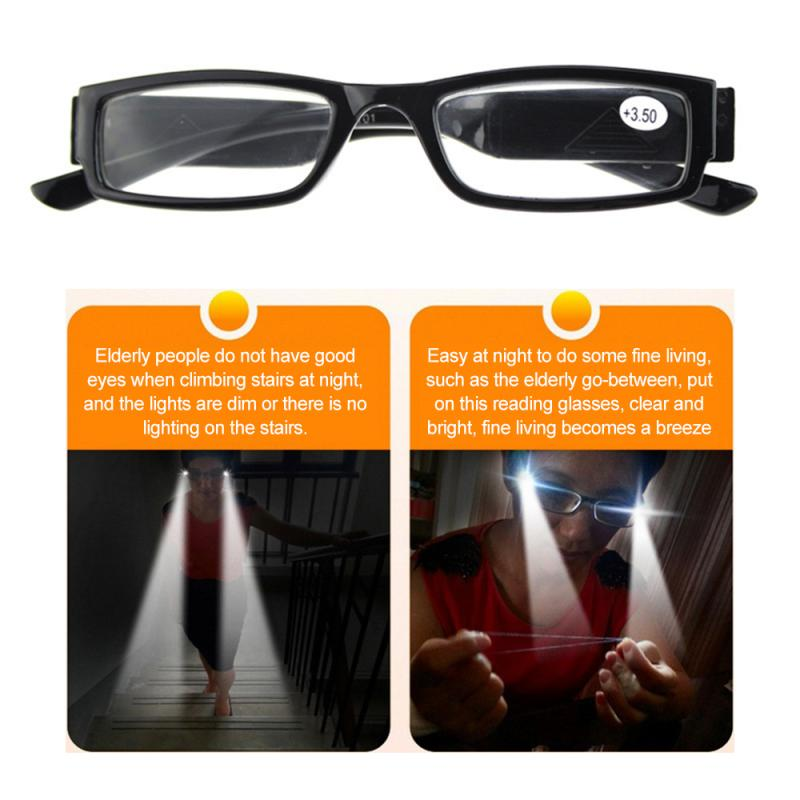 Led Reading Glasses Elderly Reading Glasses Reading Newspaper Lighting Magnifier Glasses With Lamp LED Light Reading Glasses