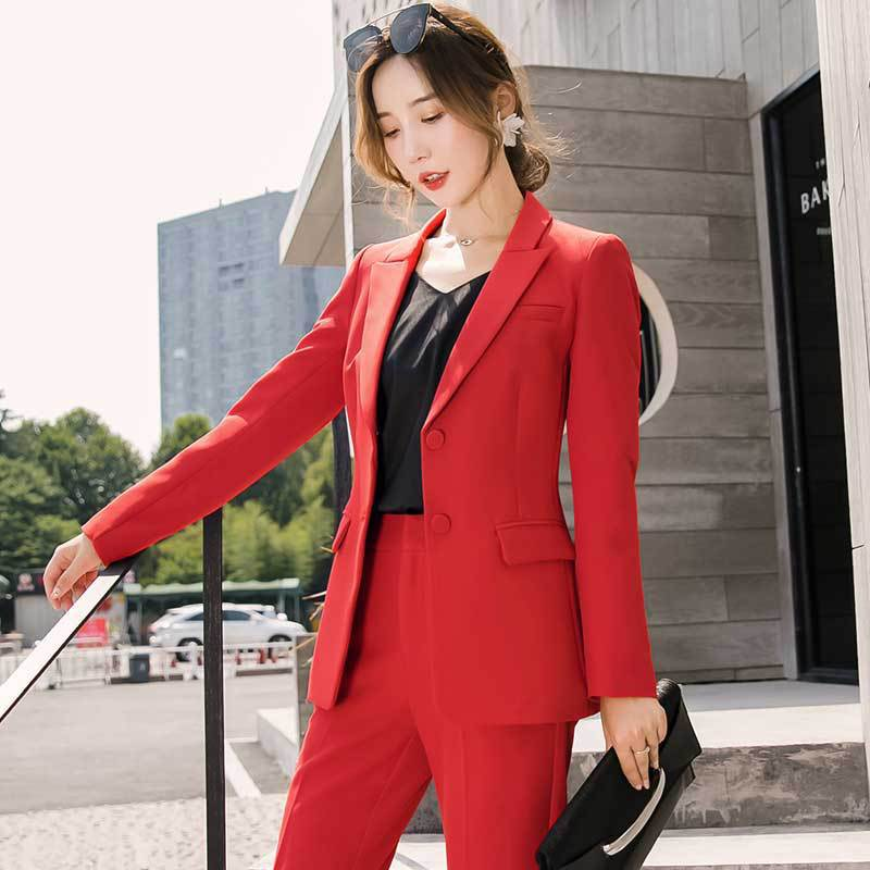 High Quality Temperament Red Women's Suit Set Elegant Single-breasted Uniform Female 2019 New Autumn And Winter Pants Suit