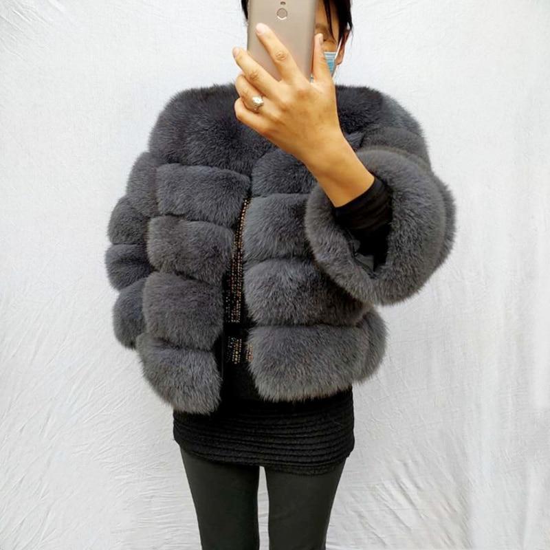 Пальто из натурального меха, 100% натуральная зимняя женская теплая меховая куртка, шуба из лисьего меха, высокое качество, меховой жилет, бес...