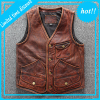 2020 Men's Professional Motorcycle Vest Genuine Leather Large Size Cowskin Vest Designer Brand High Quality Sleeveless Jackets