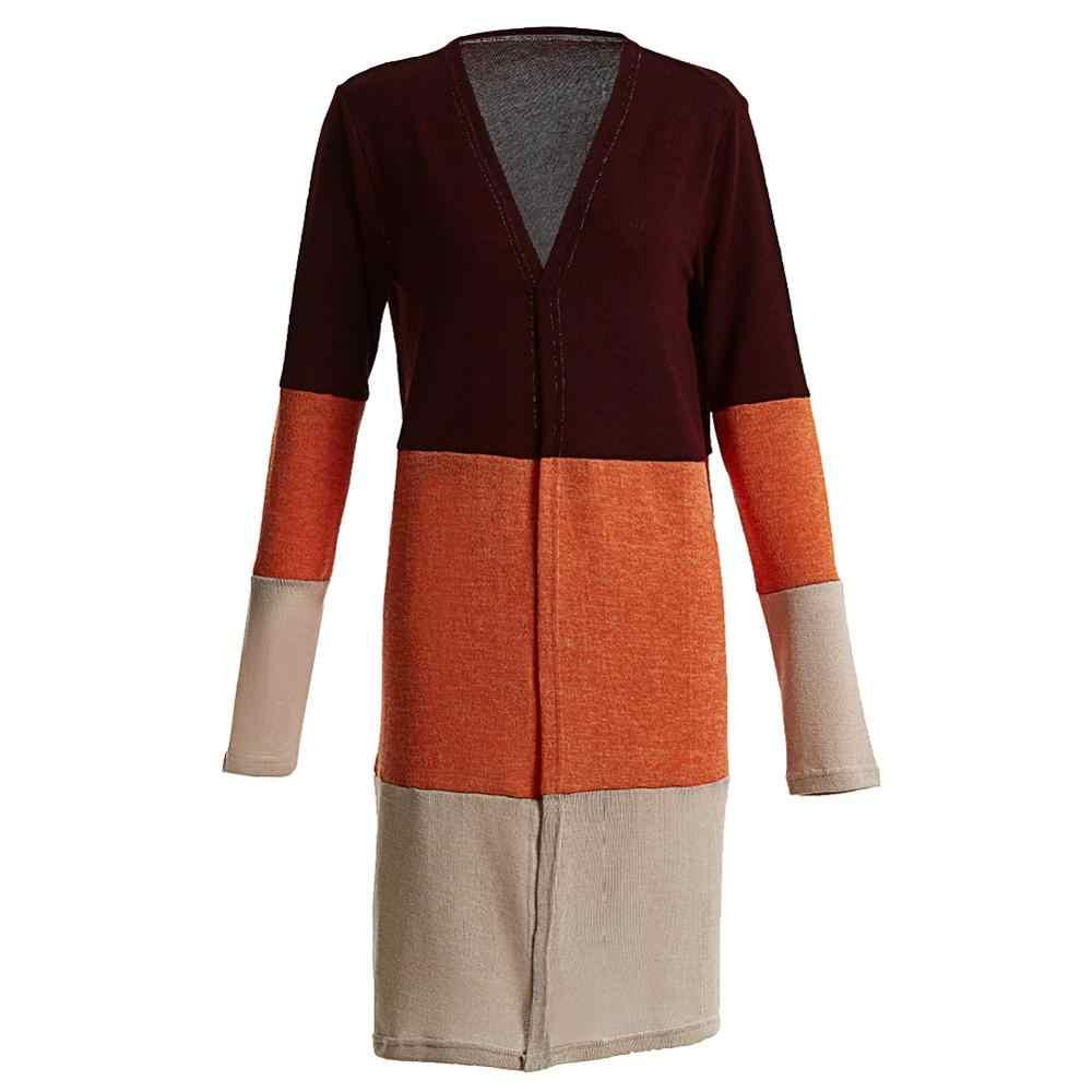 Mới Thời Trang Nữ Thu Đông Khối Màu Miếng Dán Cường Lực Áo Len Cardigan Nữ Dài Tay Hở Mặt Trước Áo Thun Len Dệt Kim Phối