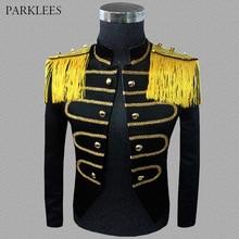 Gothic Mens Epaulette Blazer Vintage Steampunk Drummer Suit Jacket Rock Frock Uniform Stage Drama Halloween Costume Homme Blazer