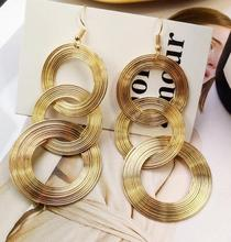 retro geometry multi-layer metal ring earrings personality for women  fashion dangle charm luxury