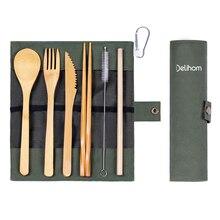 Bamboo cutlery set chopsticks butter knife dessert spoon dinner fork tea ice 4YANG