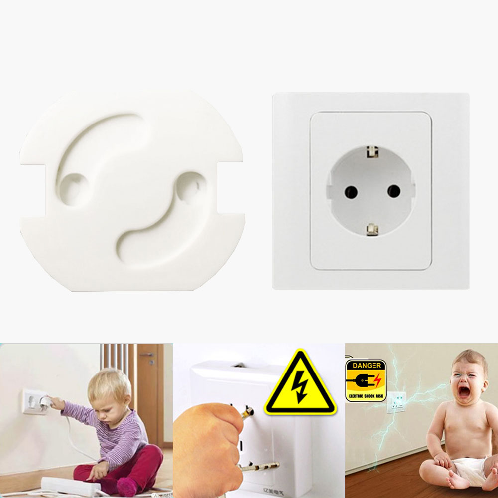 10Pcs/Lot Baby Safety Rotate Cover 2 Holes EU Standard Children Electric Protection Socket Baby Plastic Locks Child Proof Socket