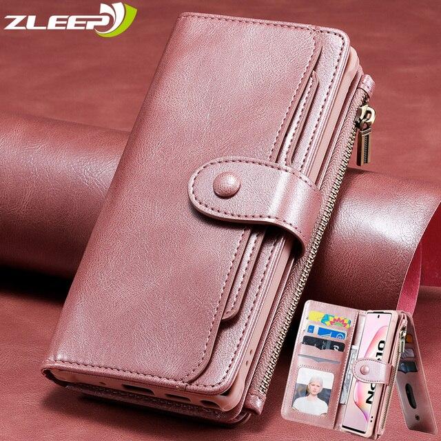יוקרה לנתק ארנק עור Flip Case לסמסונג גלקסי S21 S8 S9 S10 E S20 FE הערה 8 9 10 20 במיוחד בתוספת כרטיס טלפון שקיות כיסוי