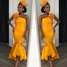 2020 Жаркой Африке Одно Плечо Привет-Ло Русалка Eveningl Цветочные Платья Оборками Голеностопного Длина Платье Вечерние Наряды