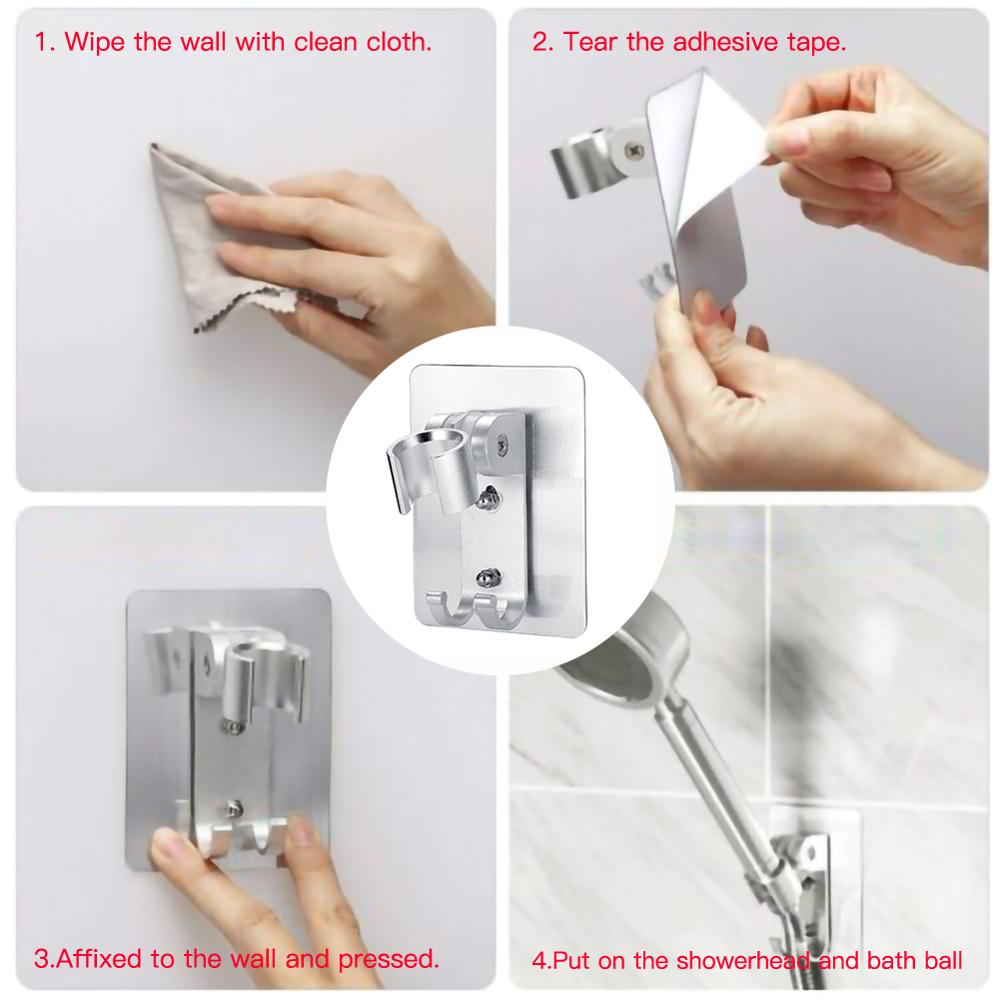 Aluminum Adjustable Bathroom Shower Head Holder Stand Bracket Wall Mount Hook