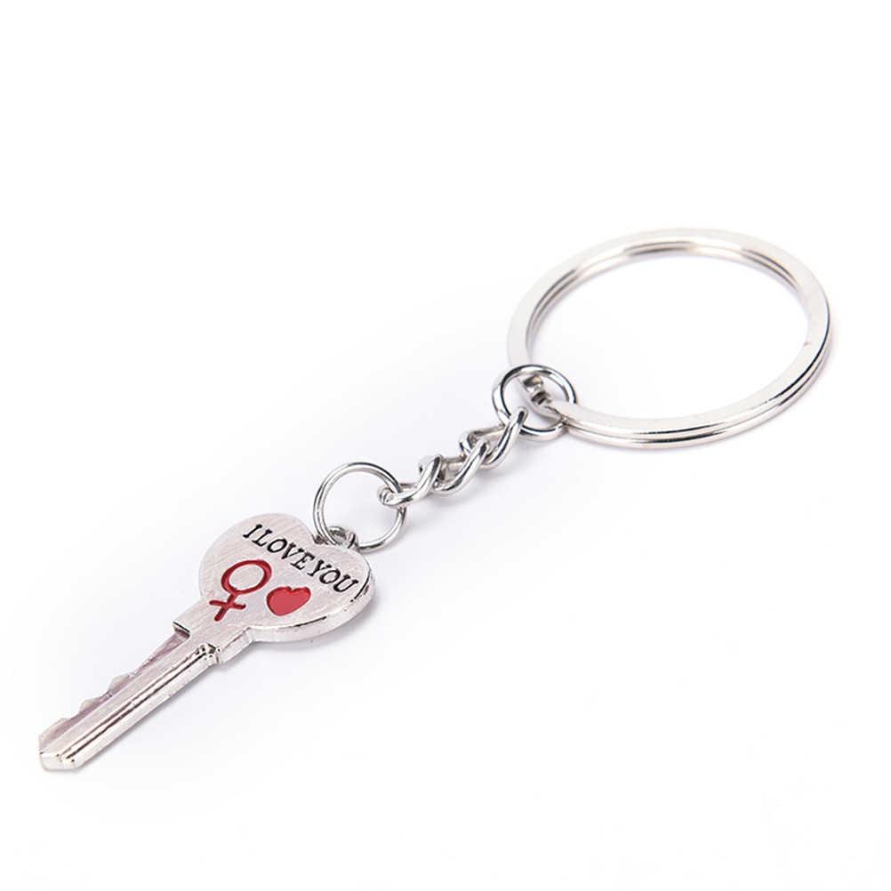 Nieuwe 1 Paar Paar I Love U Brief Sleutelhanger Hart Ring Zilveren Liefhebbers Liefde Auto Sleutelhanger Souvenirs Valentine dag