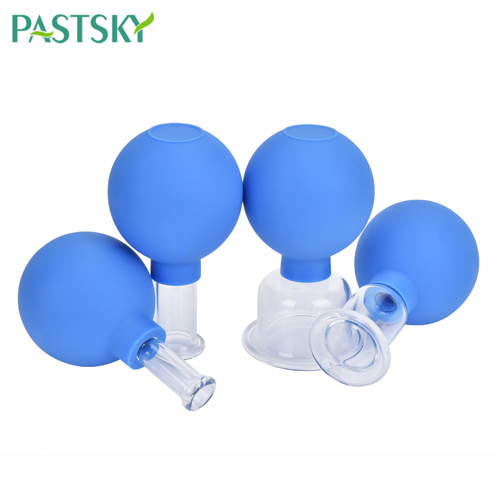4pcs Vacuum Cupping Glasses Massage Jars Pink Blue Body Cups Rubber Head Suction Cup Chinese Medicine Therapy Health Care