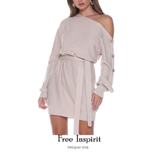 Free Inspirit  Sexy Style Button Decoration Belt Oblique Collar Above Knee Mini Acrylic Fibres Womens Dresses