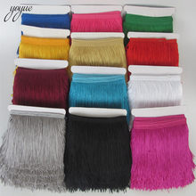 YOYUE 1Yard/lot 10CM Long Lace Fringe Trim Polyester Tassel Fringe Trimming Diy Latin Dress Stage Clothe Accessories Lace Ribbon(China)