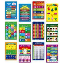 12 Pcs Educational Preschool Posters Charts For Preschoolers Toddlers Kids Kindergarten Classrooms