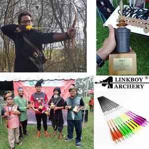 Image 5 - Flecha de carbono para tiro con arco Linkboy sp500, 12 Uds., 32 pulgadas, punto objetivo de pluma de pavo, puntas de 75gr, Nock para caza de arco largo tradicional