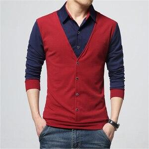 Image 4 - Browon Merk Herfst Mens T Shirts Fashion 2020 Nep Twee Designer Kleding Cool T shirt Mannen Lange Mouw T shirt Toevallige mannelijke