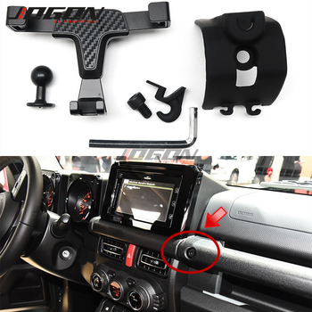 Car Carbon Grain Gravity Dashboard GPS Cell Phone Mount For Suzuki Jimny 2019-2020 Bracket Stand Holder Support Accessories image