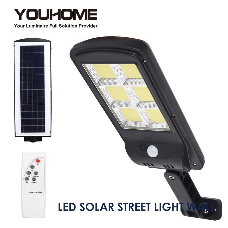 Уличный светодиодный уличный фонарь на солнечной батарее, водонепроницаемый настенный светильник с пассивным ИК датчиком, индукционный COB ...