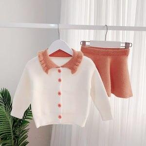 Image 3 - Humor Bear ensemble pull pour filles, tenue tricoté pour enfants, chemise + jupe, tenue 2 pièces, à revers, nouvelle collection, automne hiver 2019