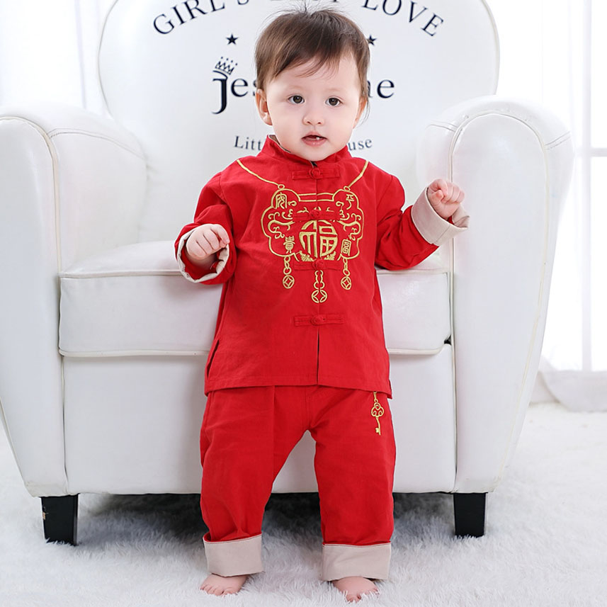 Newborn Baby Boys Tang Suit Traditional Chinese Costumes New Year Spring Festival Embroidery Blessing Clothing Set Girl Hanfu