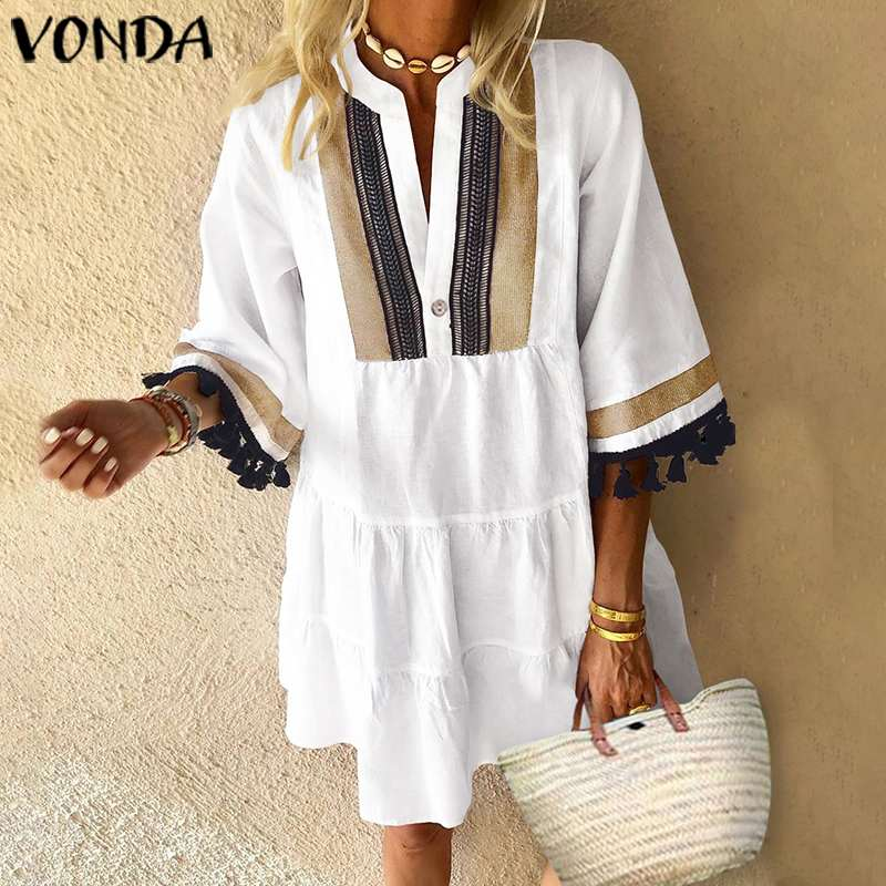 Summer Dress VONDA 2019 Woman Vintage Printed Half Sleeve V Neck Party Dresses Loose Mini Dresses Bohemian Vestidos Femme Robe