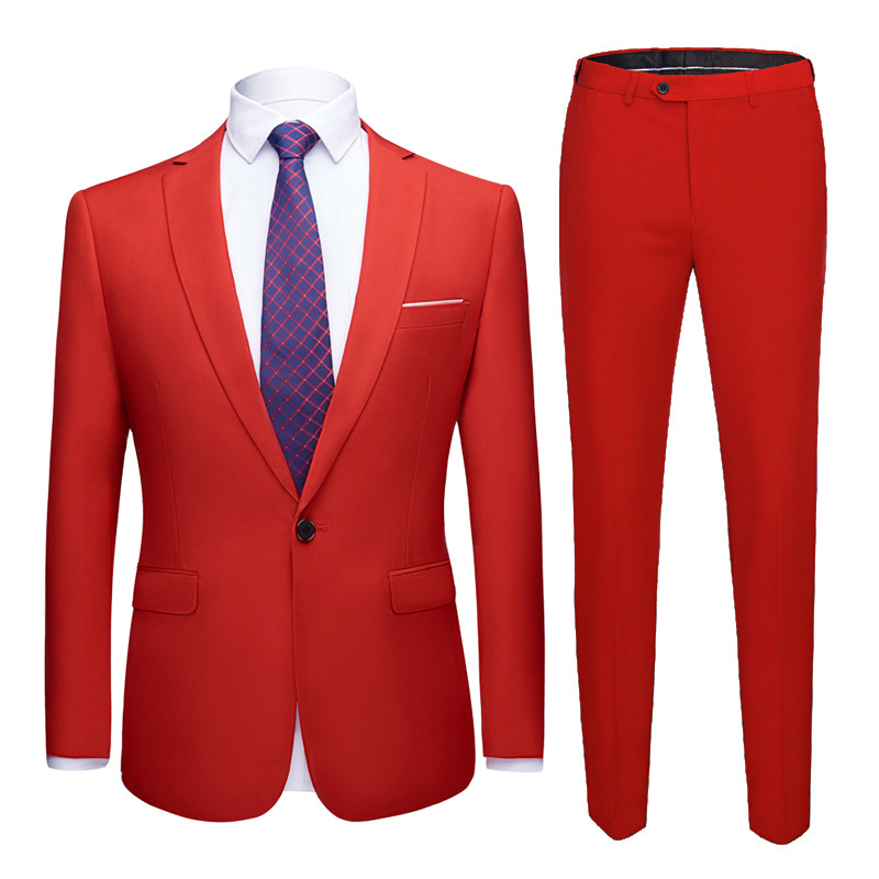 Men Suits Slim Fit Business Uniform Office Suit Wedding Groom Party 2-Piece Jacket Pants Notch Lapel Single Button Formal Casual