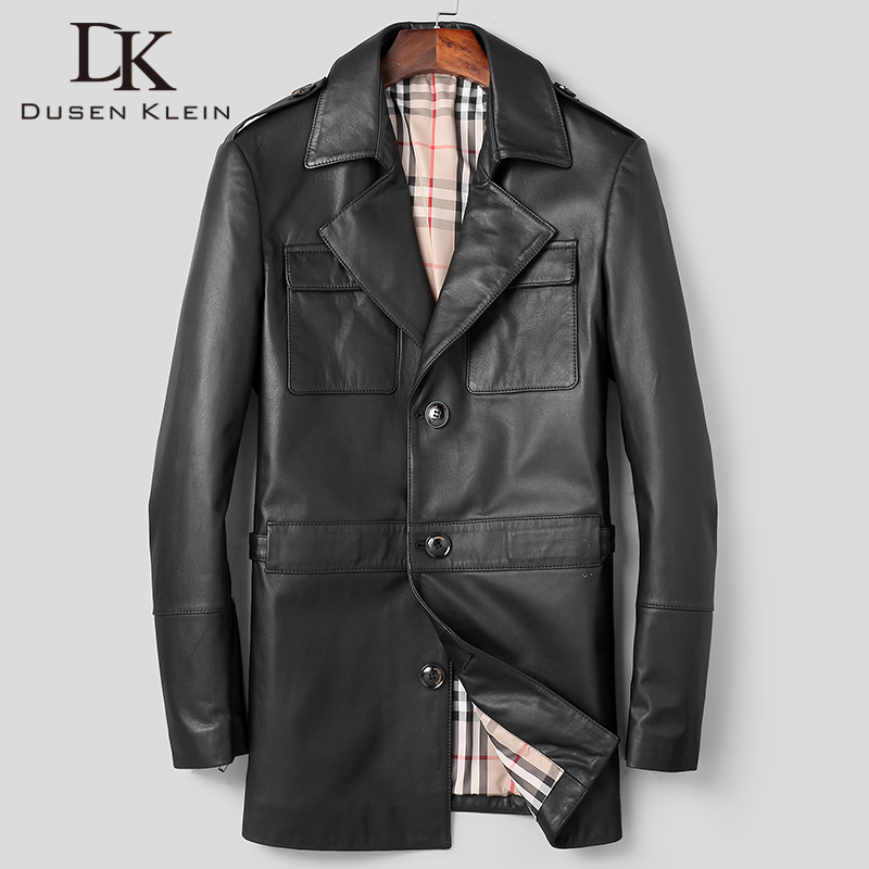 DK 2019 New Fashion Formal Cowhide Coat Men Autumn Genuine Leather Jackets Businessman Medium Long Real Cowhide Leather Clothing