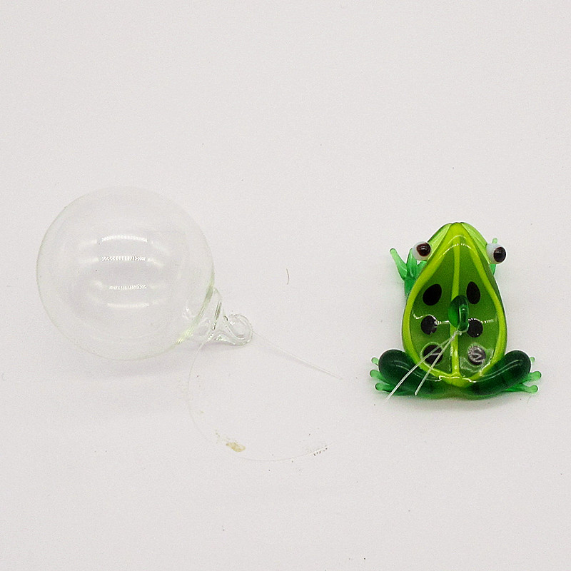 Custom Handmade Floating Glass Animal Figurine Aquarium Fish Tank Home Decoration Accessories Mini Frog Ornament Statue Pendant