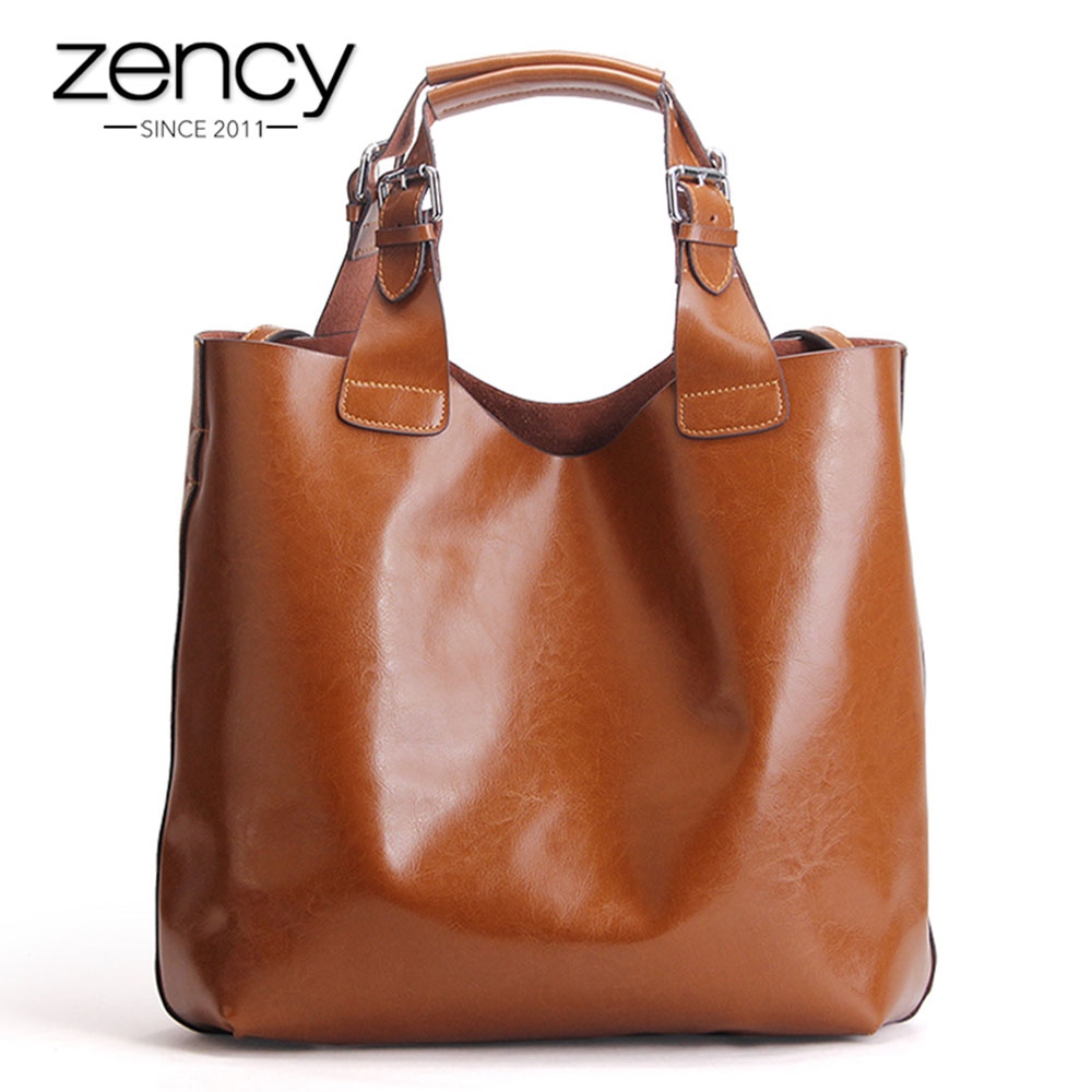 Zency หนังแท้ 100% สีน้ำตาลกระเป๋าถือสตรี Lady Tote กระเป๋าแล็ปท็อปคลาสสิกกาแฟหญิงไหล่กระเป๋าช้อปปิ้งกระเป๋า-ใน กระเป๋าหูหิ้วด้านบน จาก สัมภาระและกระเป๋า บน   1