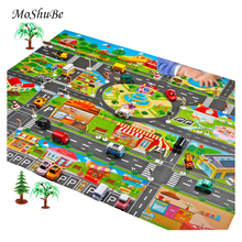Two Size Baby Kids Play Mat City Road Buildings Parking Map Game Scene Toy Car Map For Children Game Mat
