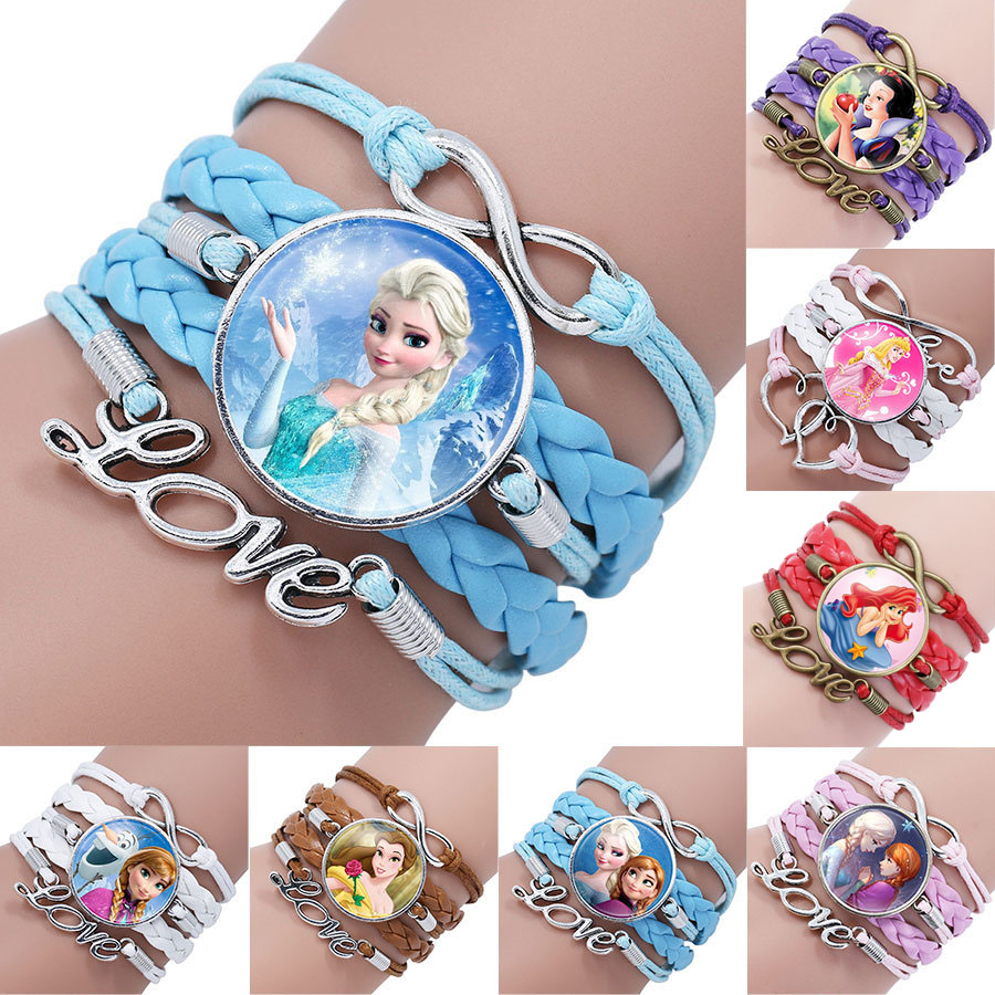 Disney princess new styles children cartoon bracelet Frozen Elsa lovely girl gift clothing accessories bangle kids toys gifts