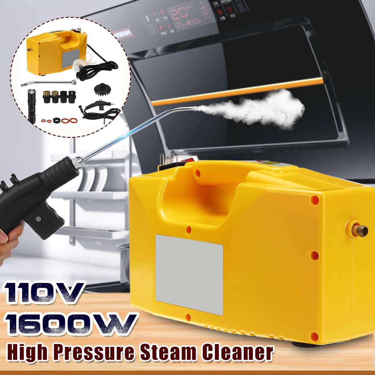 110В 1600 Вт пароочиститель высокого давления бытовой высокотемпературный пароочиститель кухонная стерилизация дезинфицирующее средство