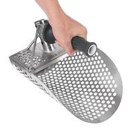 Sand Scoop for Metal Detecting  Stainless Steel with Hexahedron Holes for Beach Treasure Hunting + Plastic Handle